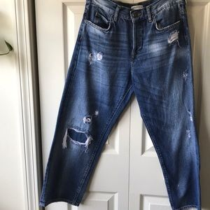 ZARA 70s inspired wide leg distressed crop jean